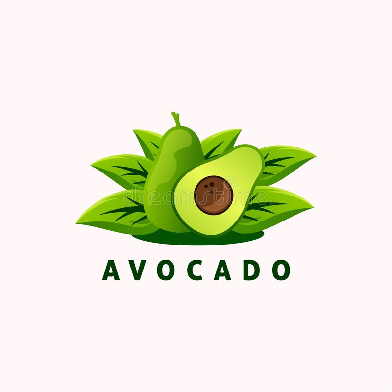 Progettazione di logo di avocado, vettore, illustrazione illustrazione di stock
