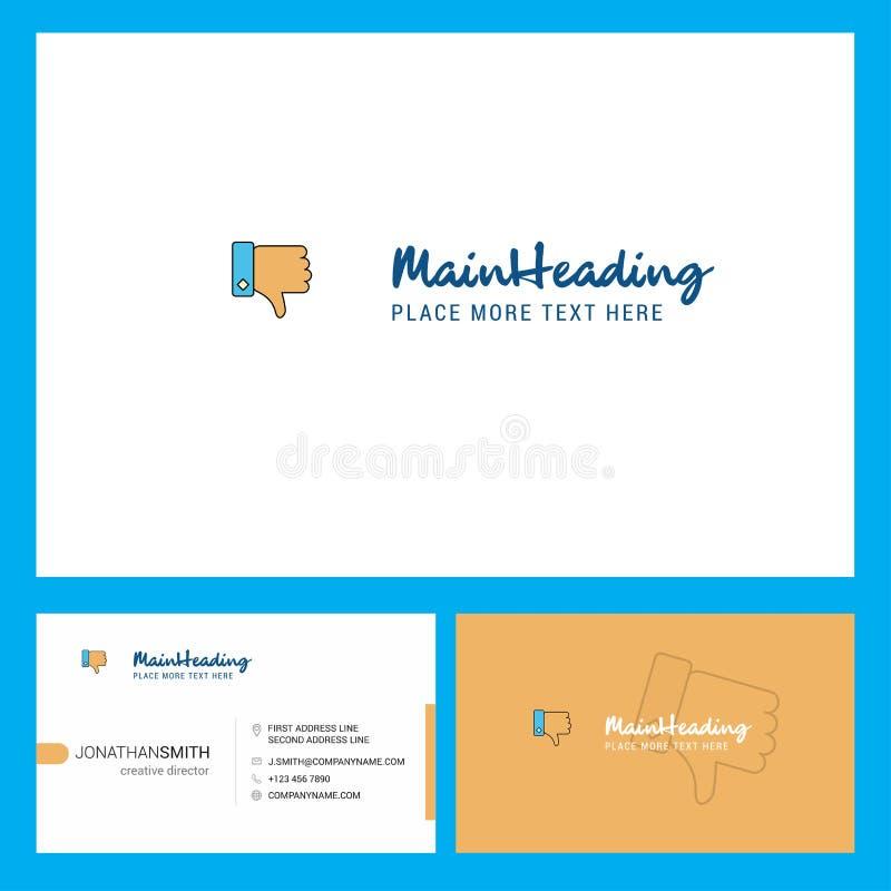 Progettazione di logo di avversione con il Tagline & parte anteriore e modello posteriore della carta di Busienss Progettazione c illustrazione di stock