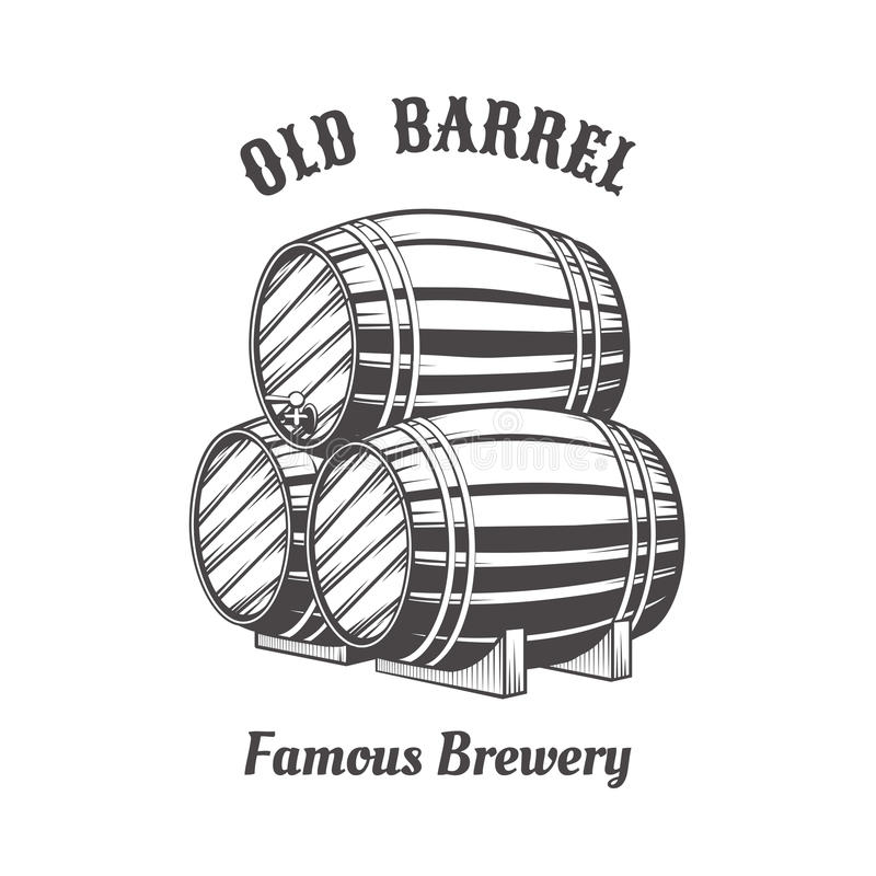 Progettazione di logo con i barilotti di birra di legno illustrazione di stock