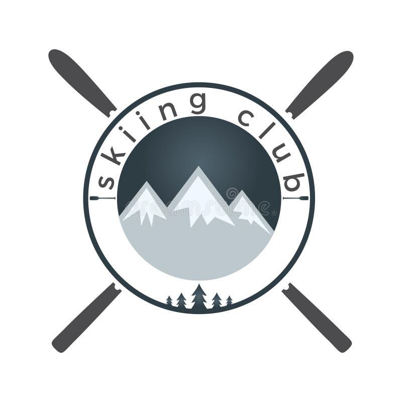 Progettazione di logo di corsa con gli sci del montaggio illustrazione vettoriale