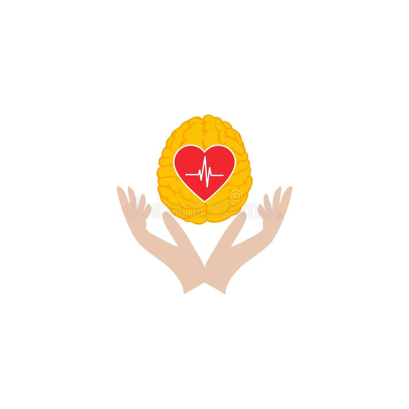 Progettazione di logo di cura del cervello del cuore illustrazione vettoriale