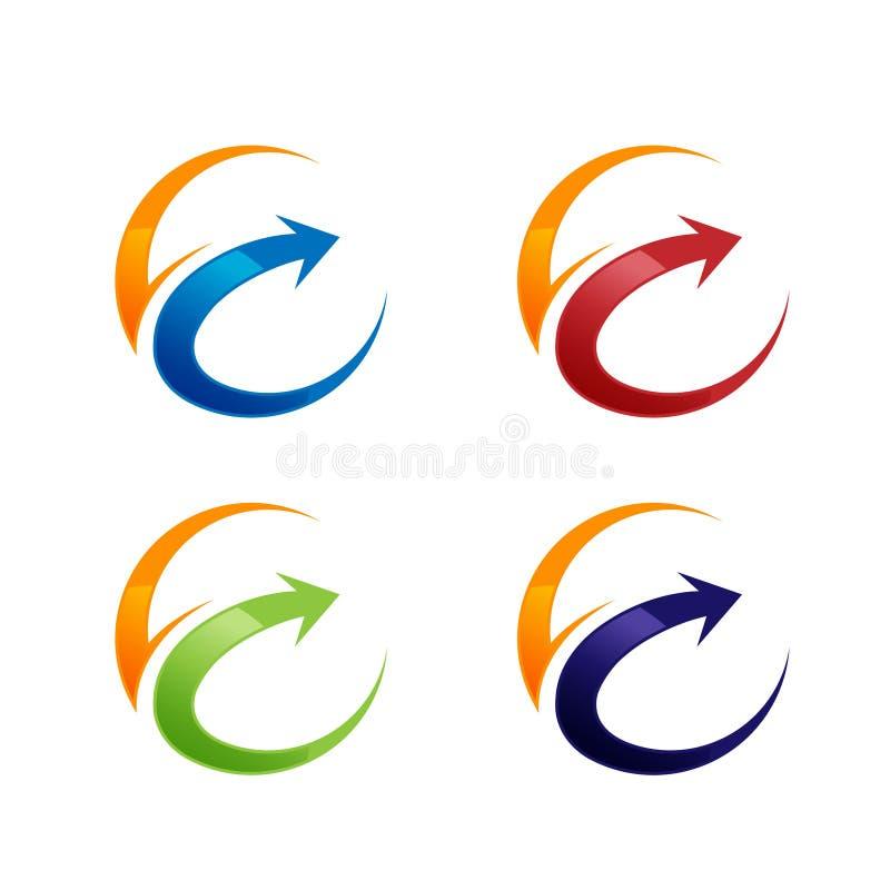Progettazione di logo degli anelli di web di orbita di tecnologia Progettazione di logo dell'anello del cerchio di vettore Modell illustrazione di stock