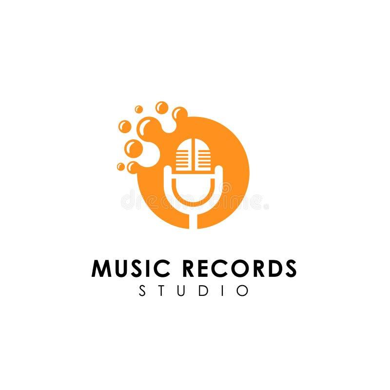 progettazione di logo dei dischi di musica dei punti progettazione di simbolo dell'icona del microfono illustrazione di stock