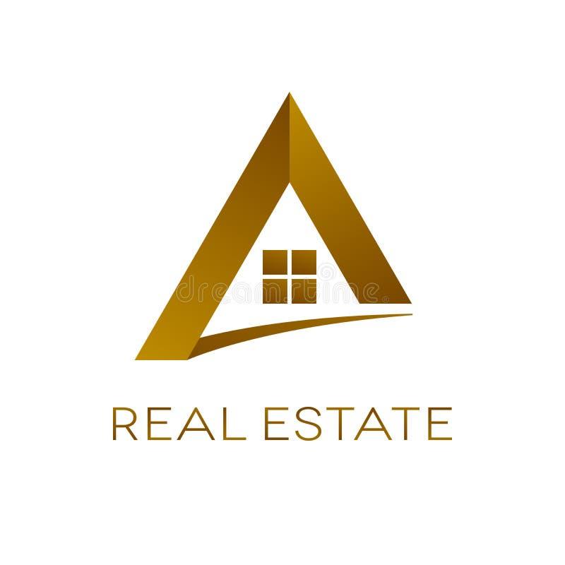 Progettazione di logo del bene immobile, illustrazione isolata di vettore illustrazione di stock
