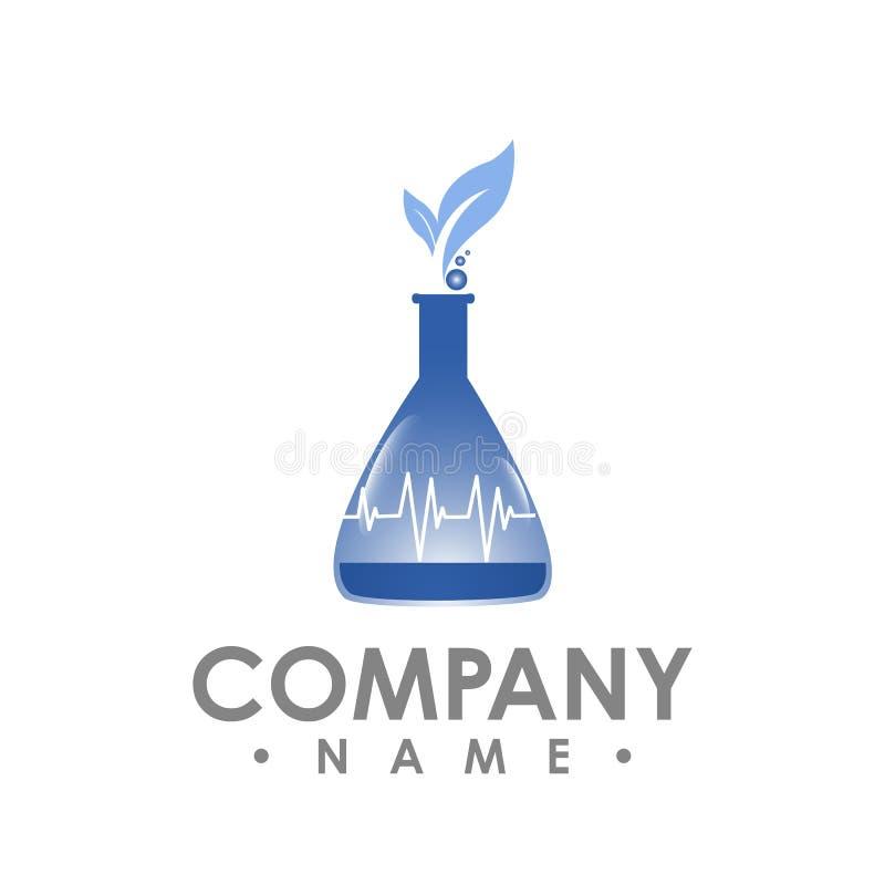 Progettazione di logo del laboratorio, simbolo della foglia nel bott naturale del laboratorio di ricerca illustrazione vettoriale
