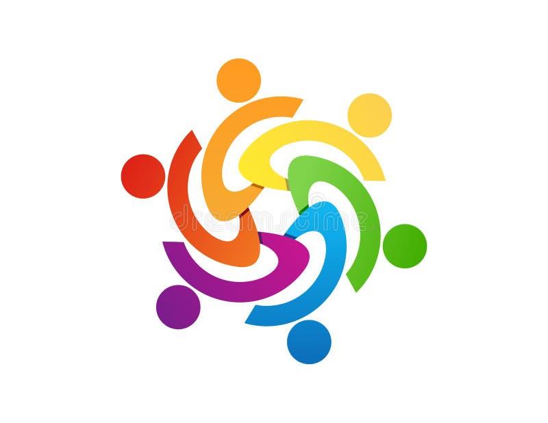 Progettazione di logo del lavoro di gruppo, estratto della gente, affare moderno, collegamento illustrazione vettoriale