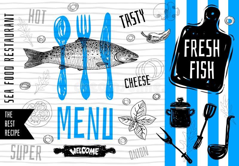 Progettazione di logo del menu dei frutti di mare Le migliori ricette Illustrazione disegnata a mano di vettore royalty illustrazione gratis