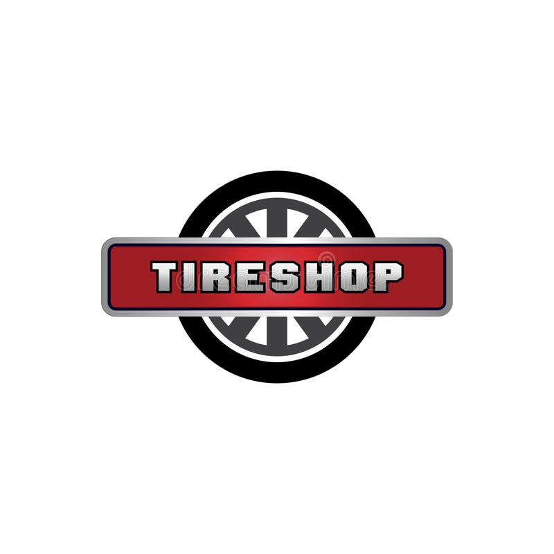 Progettazione di logo del negozio della gomma, affare che marca a caldo, negozio del pneumatico di logo del pneumatico illustrazione vettoriale
