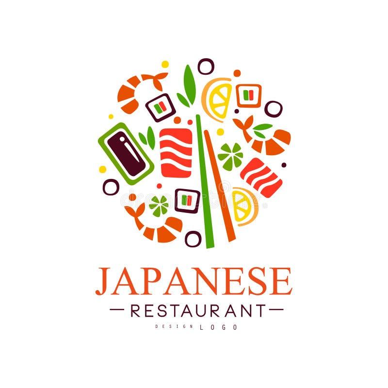 Progettazione di logo del ristorante giapponese, illustrazione continentale tradizionale autentica di vettore dell'etichetta dell royalty illustrazione gratis