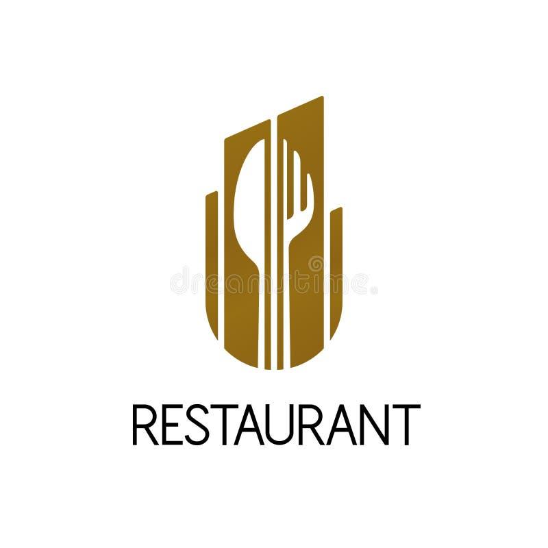 Progettazione di logo del ristorante, illustrazione isolata di vettore illustrazione di stock
