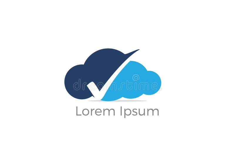 Progettazione di logo del segno di spunta della nuvola, segno di spunta sullo schermo ed icona della nuvola Simbolo di protezione royalty illustrazione gratis