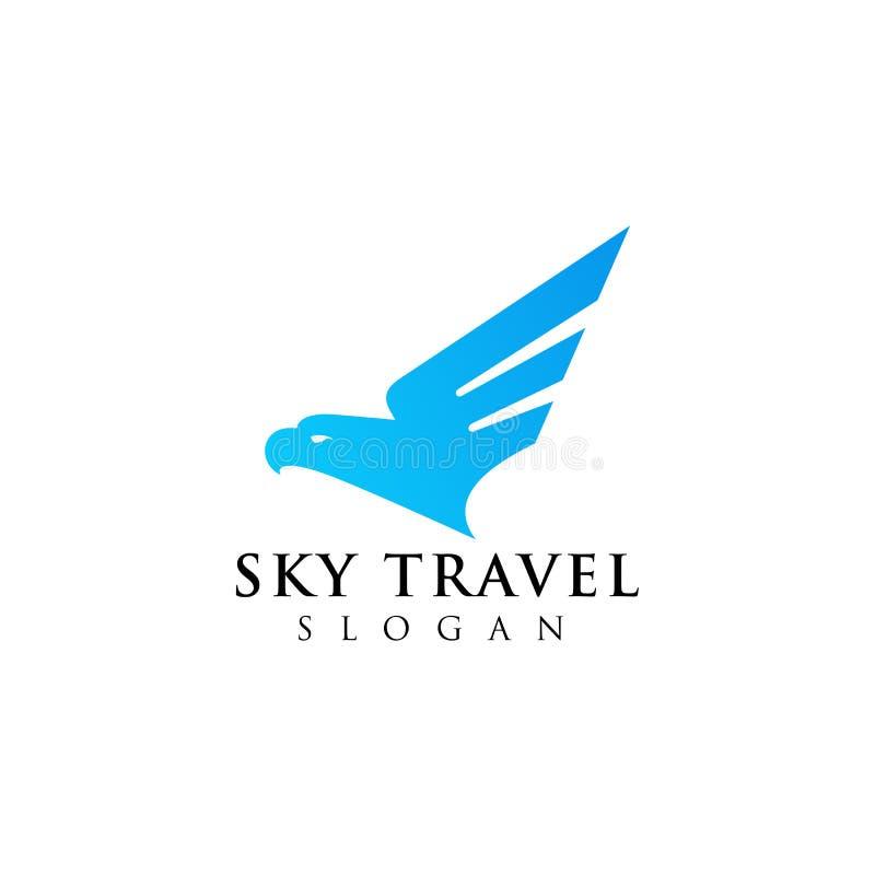 progettazione di logo dell'agenzia di viaggi dell'aeroplano con le illustrazioni cape di un'aquila illustrazione di stock