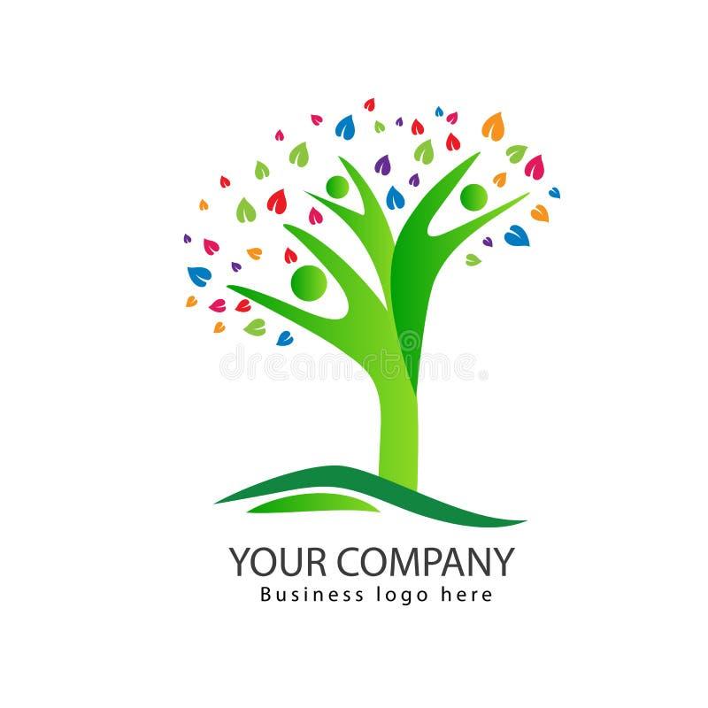 Progettazione di logo dell'albero della gente con l'albero genealogico variopinto delle foglie illustrazione di stock