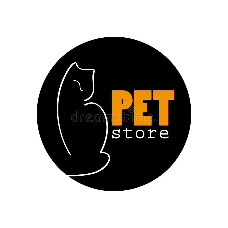 Progettazione di logo dell'animale domestico di vettore con il gatto disegnato a mano illustrazione di stock