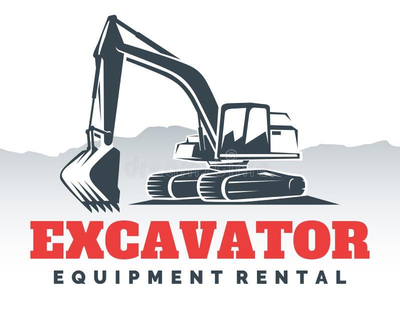 Progettazione di logo dell'escavatore illustrazione vettoriale