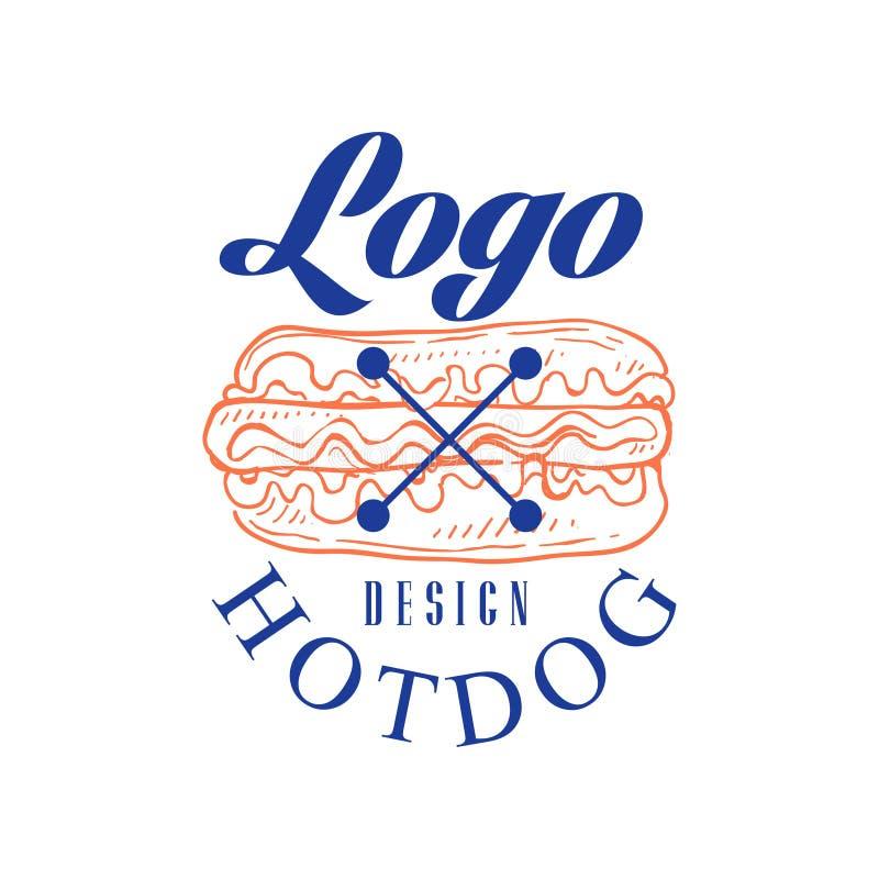 Progettazione di logo dell'hot dog, retro emblema per il negozio, caffè, ristorante, cucinante affare, illustrazione di vettore d illustrazione vettoriale