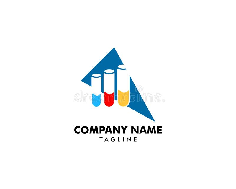 Progettazione di logo dell'icona di vettore del tubo del laboratorio illustrazione di stock
