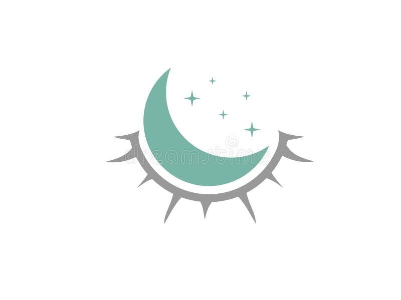 Progettazione di logo dell'occhio di fine di sonno illustrazione di stock
