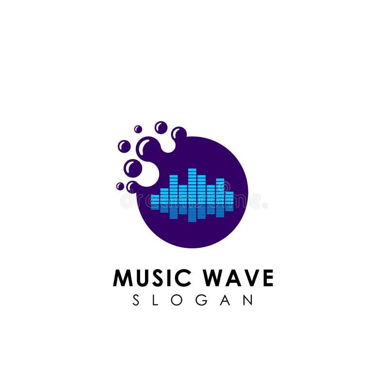 progettazione di logo dell'onda sonora dei punti progettazione dell'icona di logo di musica illustrazione di stock
