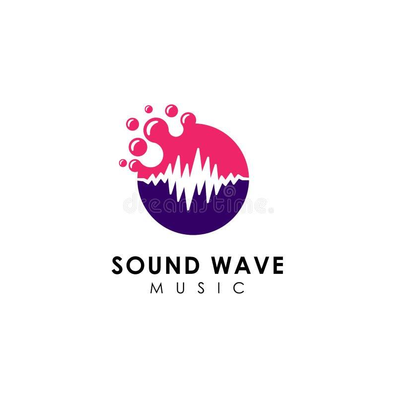 progettazione di logo dell'onda sonora dei punti progettazione dell'icona di logo di musica illustrazione vettoriale