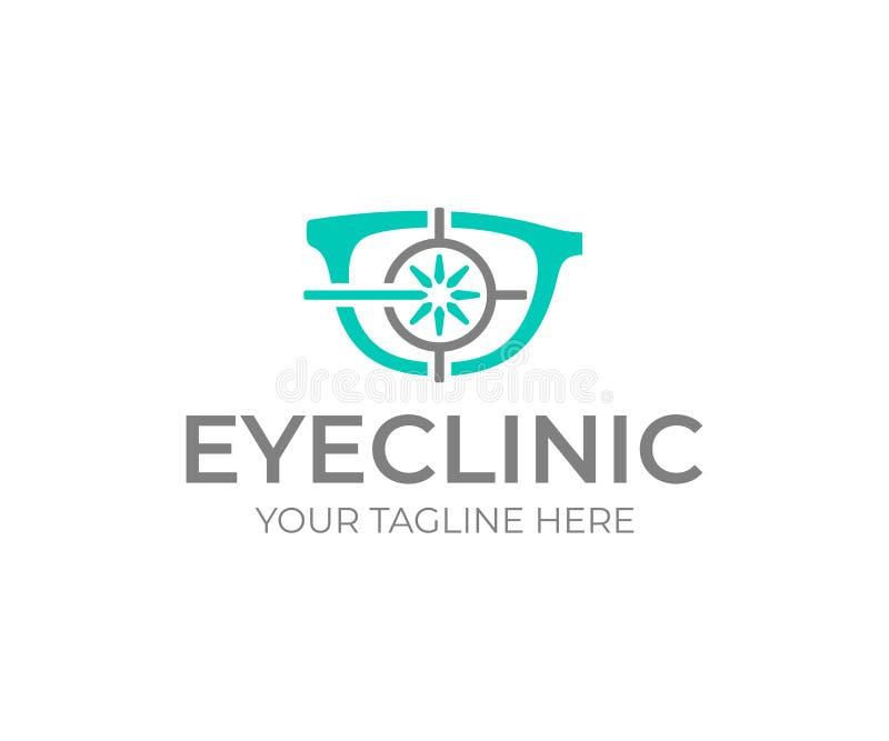 Progettazione di logo della chirurgia dell'occhio del laser Progettazione di vettore della clinica di occhio illustrazione di stock