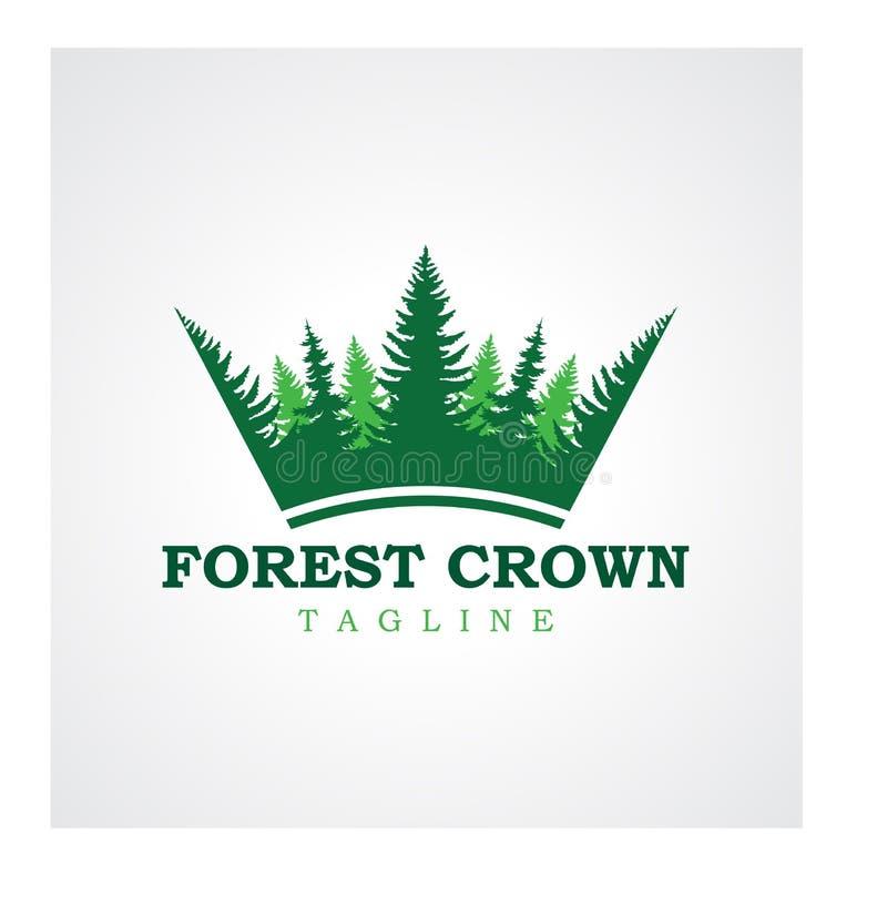 Progettazione di logo della corona della foresta illustrazione di stock