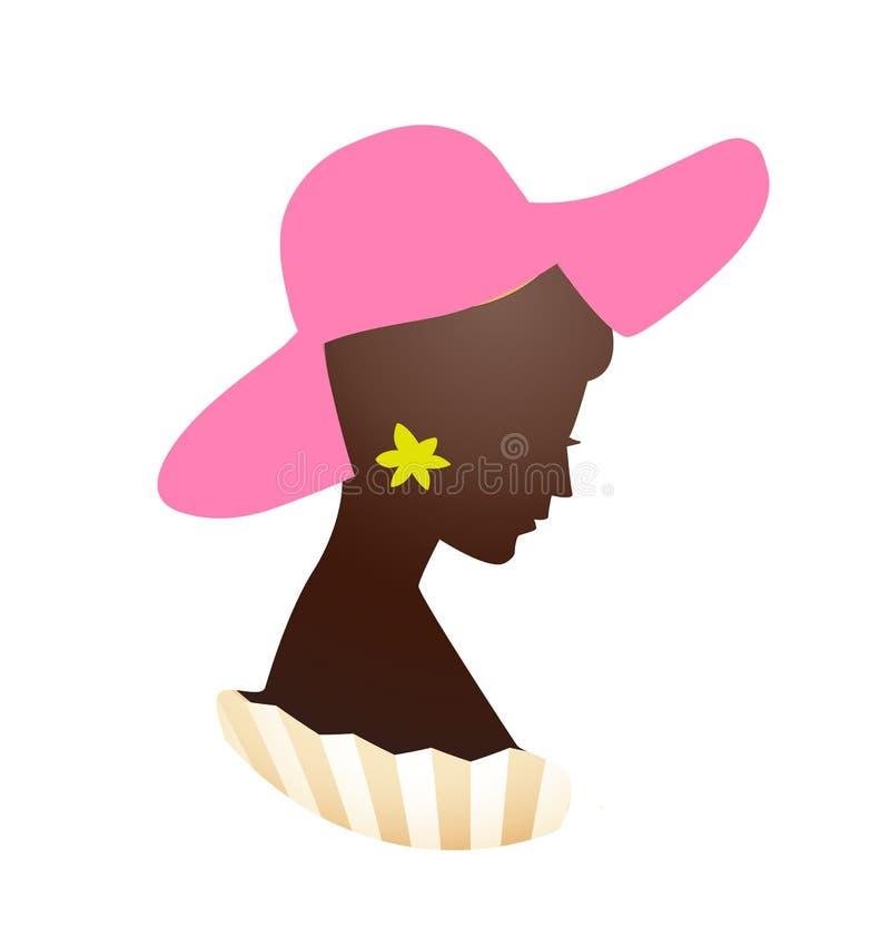 Progettazione di logo della donna di bellezza su fondo bianco Illustrazione illustrazione di stock