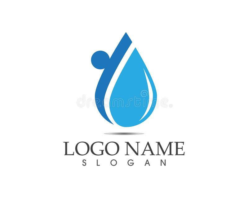 Progettazione di logo della gente della goccia di acqua illustrazione di stock