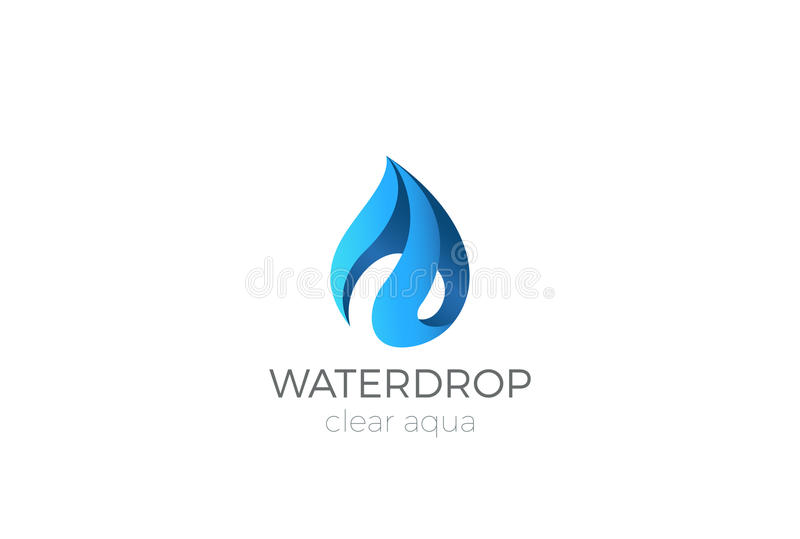 Progettazione di logo della goccia di acqua Acqua dell'icona di Waterdrop del nastro illustrazione di stock