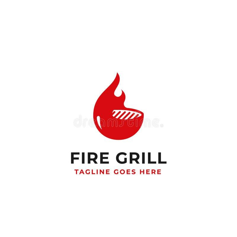 Progettazione di logo della griglia del fuoco per l'illustrazione di vettore di concetto di identità di marca del ristorante del  illustrazione di stock