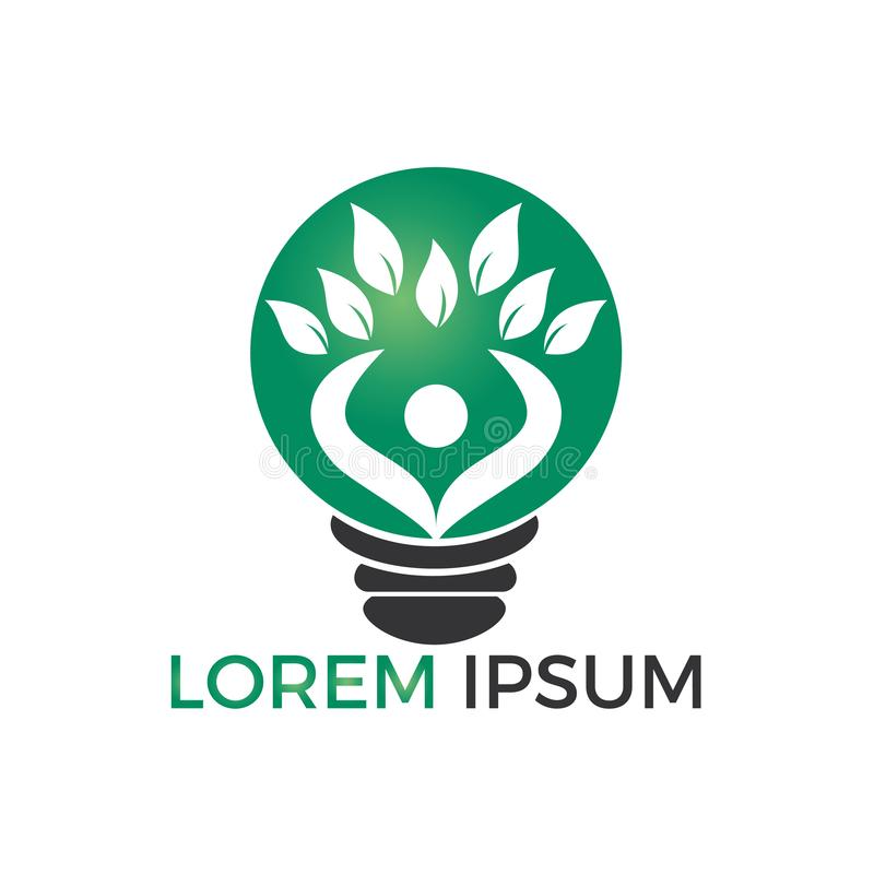 Progettazione di logo della lampadina e dell'albero umano Progettazione sana di logo della gente illustrazione vettoriale