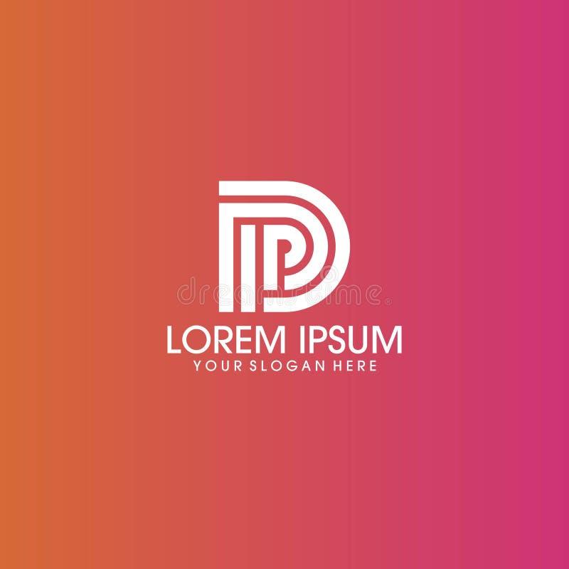 Progettazione di logo della lettera del palladio di DP con spazio negativo illustrazione vettoriale