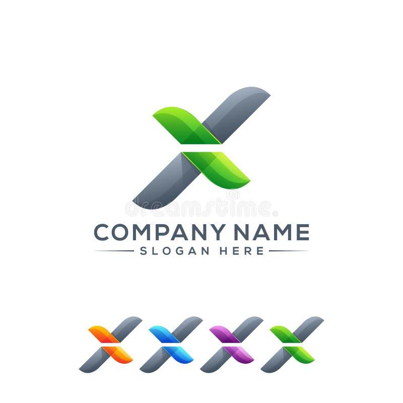 Progettazione di logo della lettera X pronta per l'uso illustrazione vettoriale
