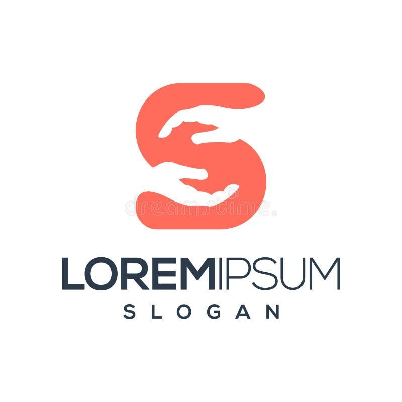 Progettazione di logo della mano della lettera S, vettore, illustrazione illustrazione di stock