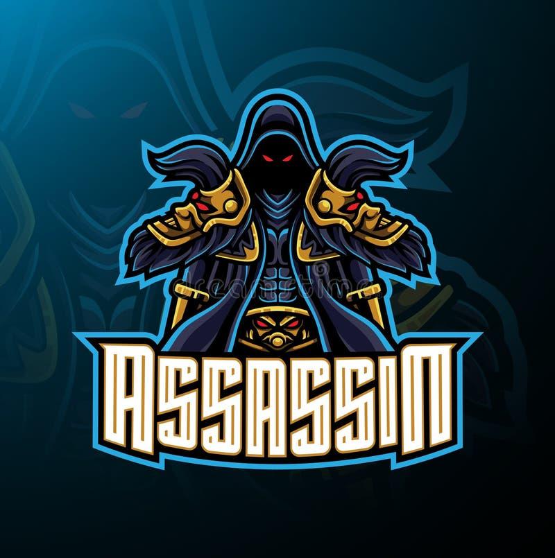 Progettazione di logo della mascotte di sport dell'assassino illustrazione di stock