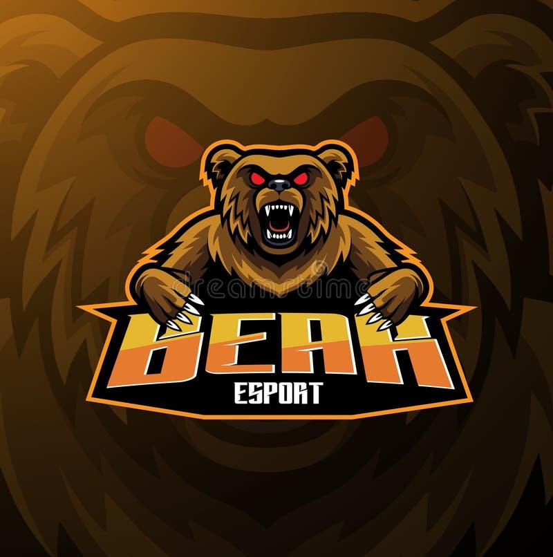 Progettazione di logo della mascotte di sport dell'orso illustrazione di stock