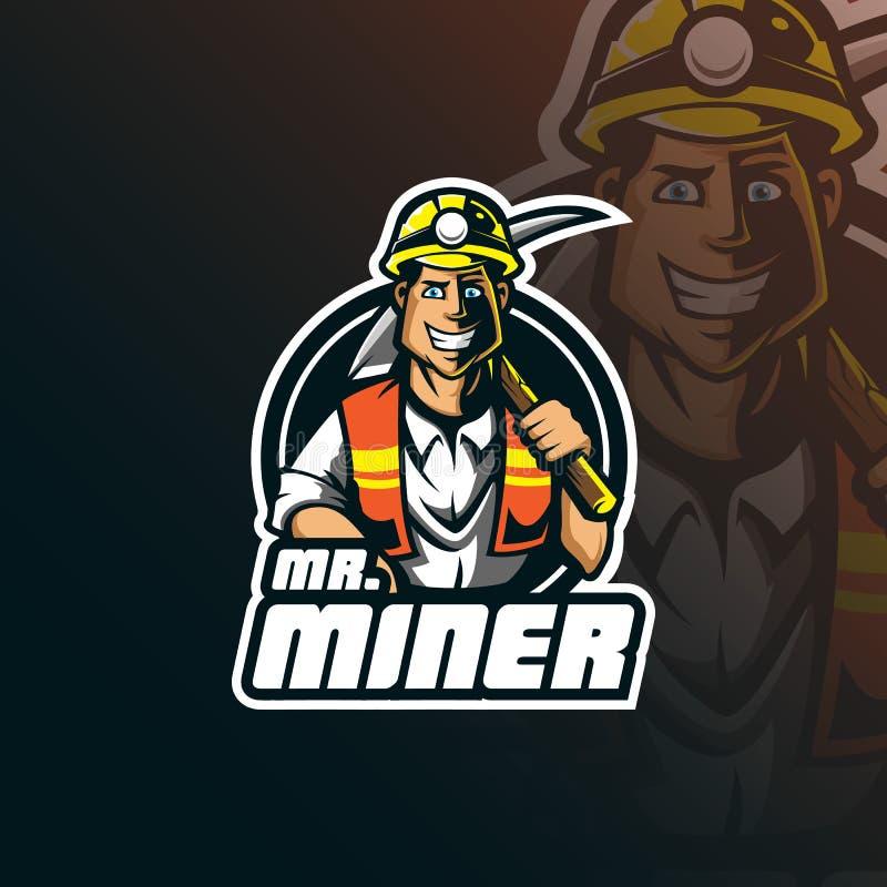 Progettazione di logo della mascotte di vettore del minatore con stile moderno di concetto dell'illustrazione per stampa del dist illustrazione vettoriale