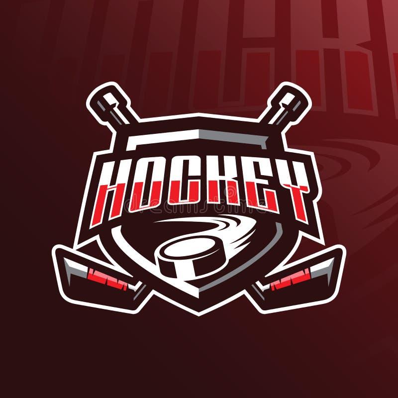 Progettazione di logo della mascotte di vettore dell'hockey con stile moderno di concetto dell'illustrazione per stampa del disti illustrazione vettoriale