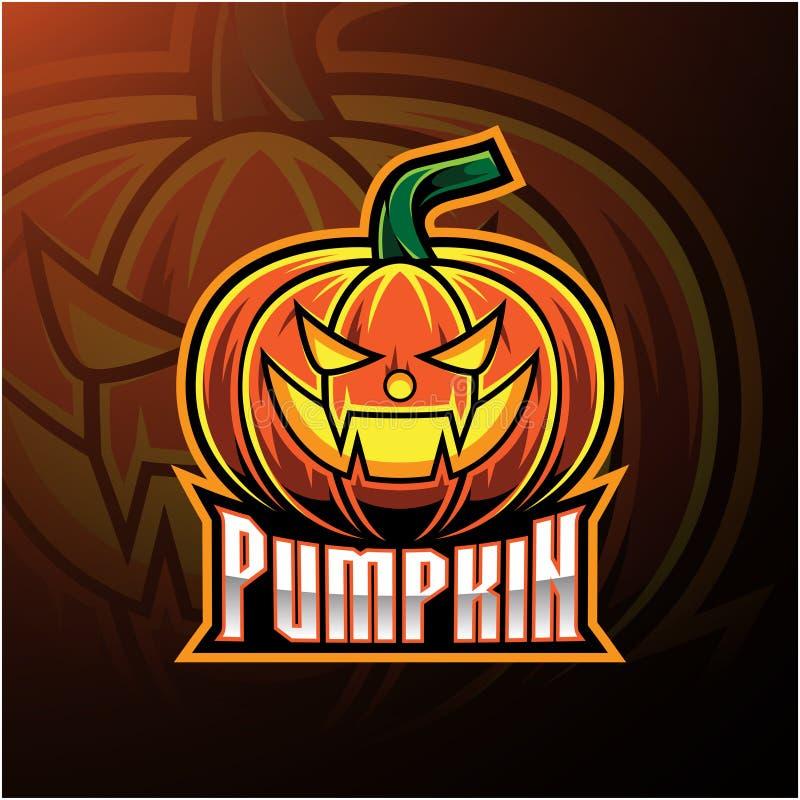 Progettazione di logo della mascotte della zucca di Halloween illustrazione vettoriale