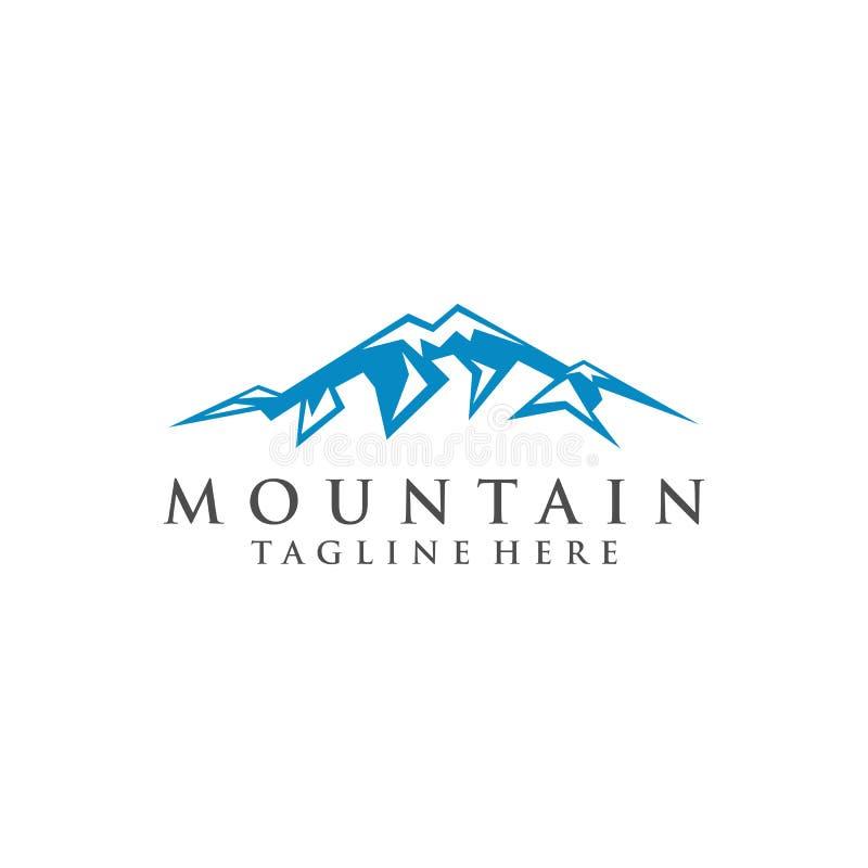 Progettazione di logo della montagna con neve illustrazione di stock