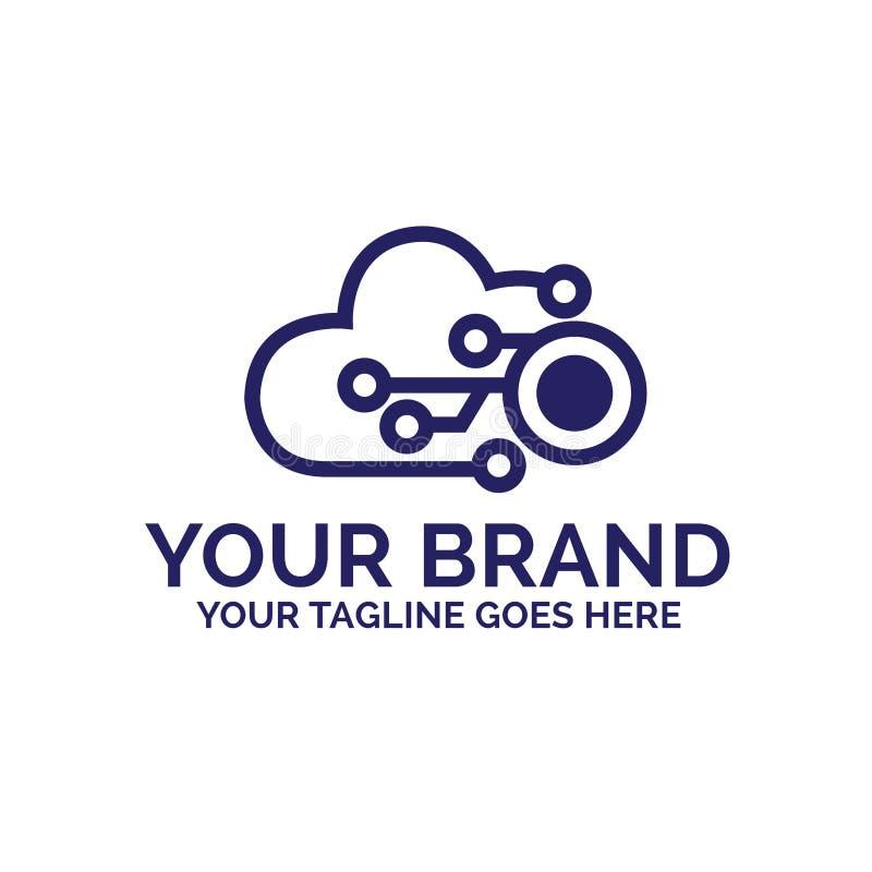 Progettazione di logo della nuvola con il concetto di tecnologia - vettore illustrazione vettoriale