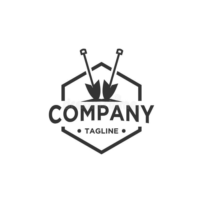 Progettazione di logo della pala o della vanga royalty illustrazione gratis