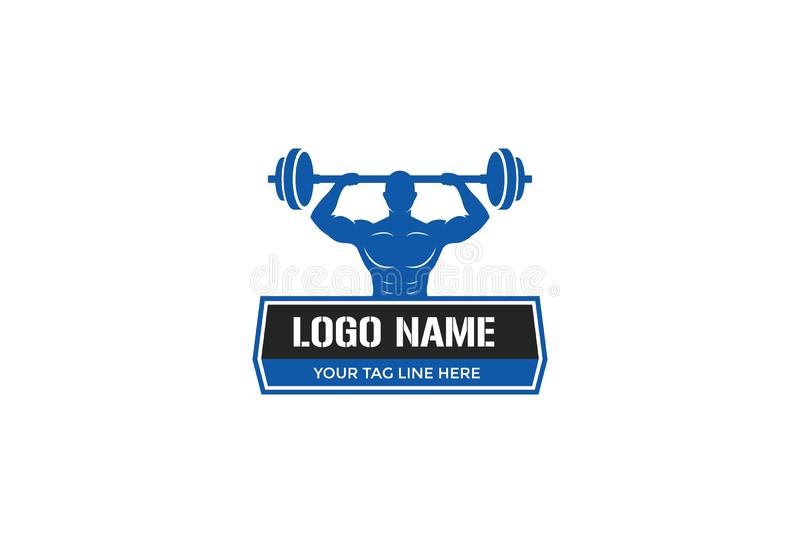 Progettazione di logo della palestra di forma fisica di sport illustrazione vettoriale