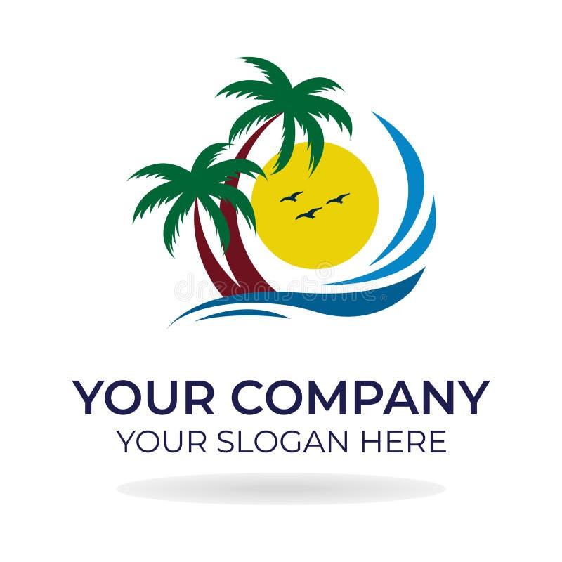 Progettazione di logo della spiaggia fotografia stock