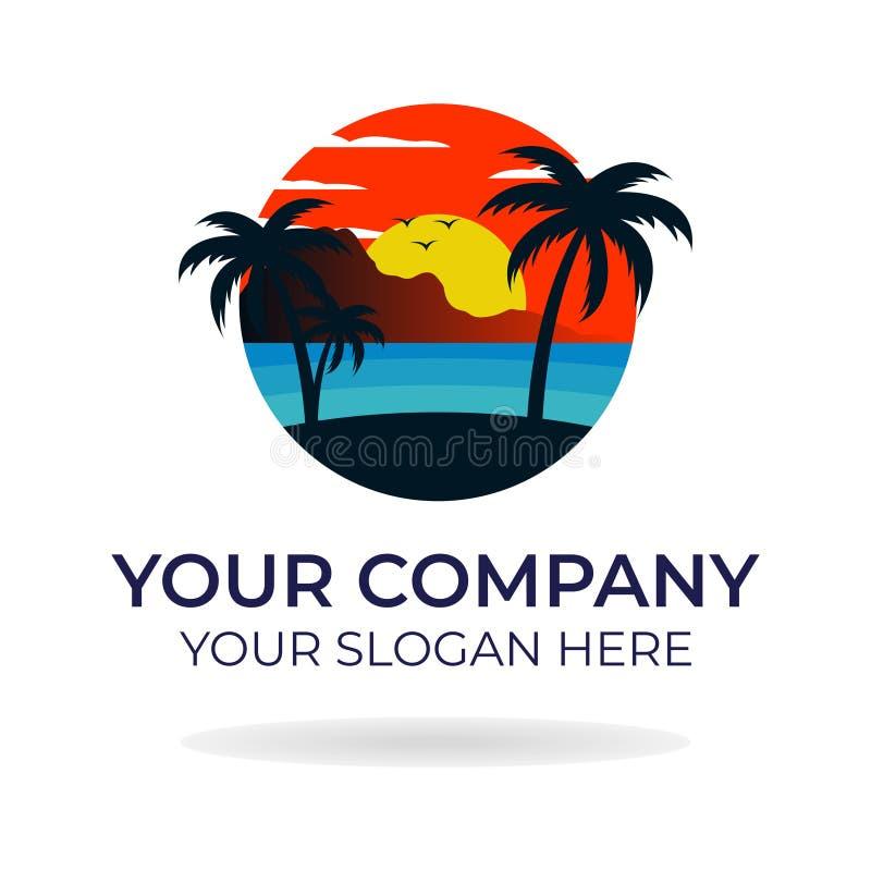 Progettazione di logo della spiaggia immagini stock
