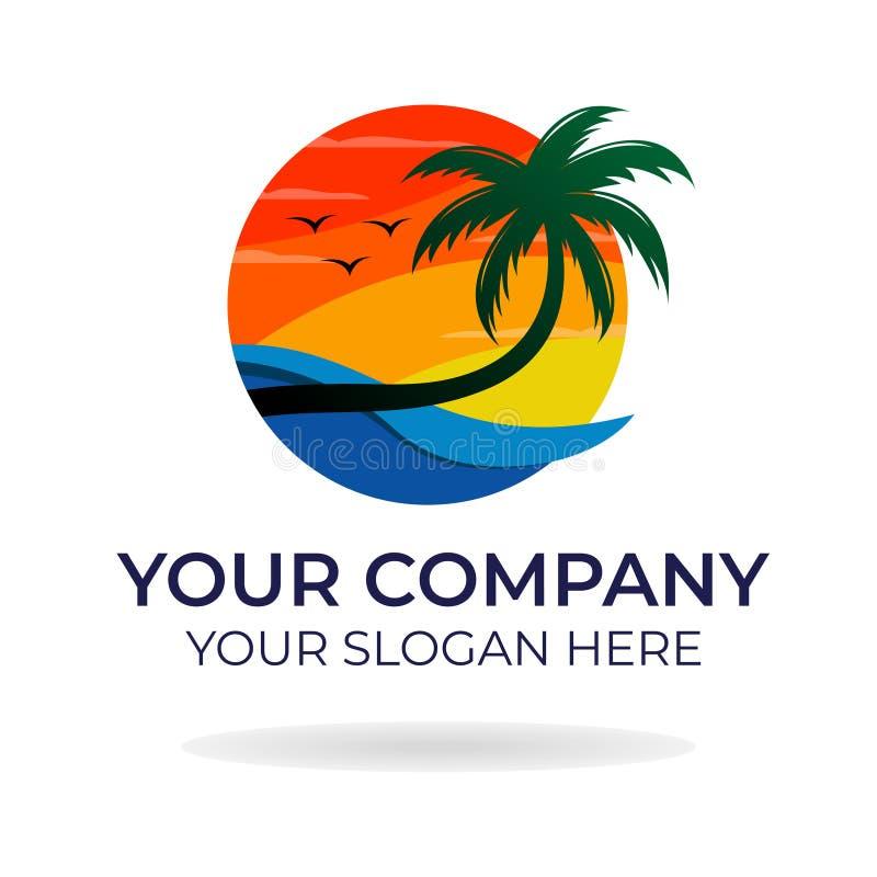 Progettazione di logo della spiaggia immagine stock