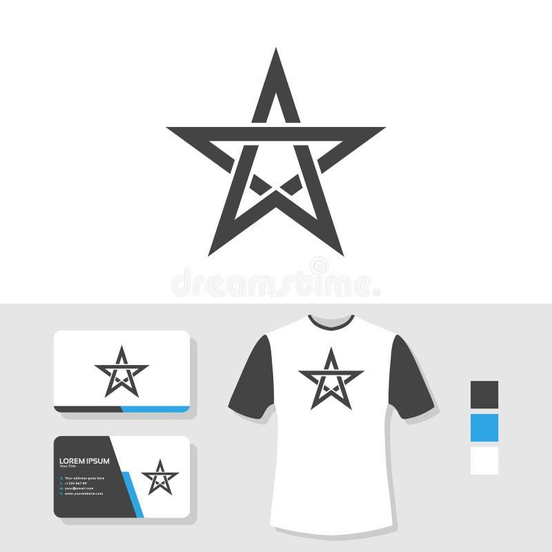 Progettazione di logo della stella con il modello della maglietta e del biglietto da visita illustrazione di stock