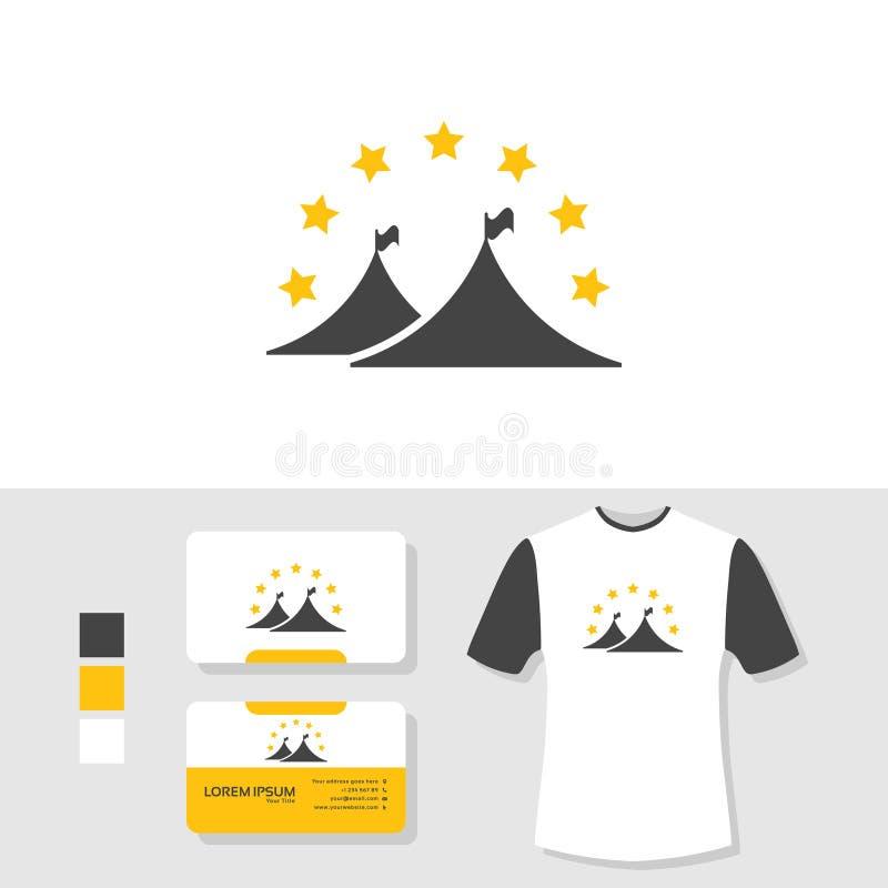 Progettazione di logo della tenda con il modello della maglietta e del biglietto da visita illustrazione di stock