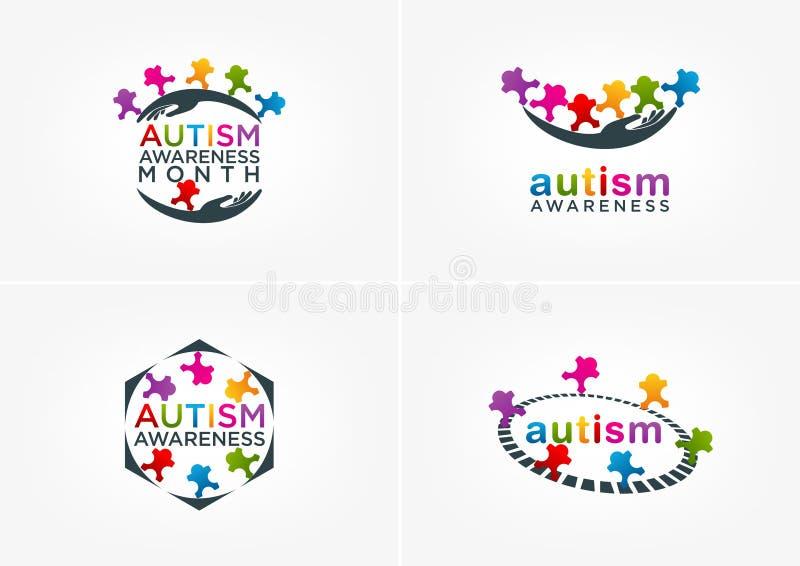 Progettazione di logo di consapevolezza di autismo illustrazione vettoriale