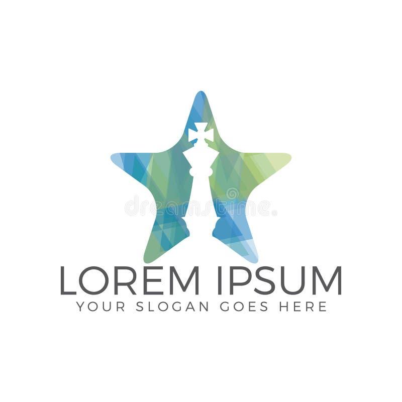 Progettazione di logo di forma della stella di scacchi illustrazione di stock